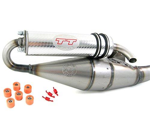 Leovince TT cromato, tubo di scappamento sportivo compatibile con Piaggio Zip 50, Zip 2, Zip SP, Zip Base, Fast Rider, SSL (50 ccm 2 tempi)