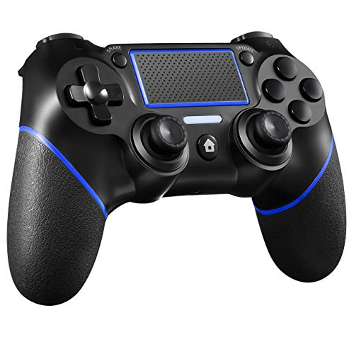 ORDA Gaming Controller Wireless Gamepad Compatible with PS4/Pro/Slim/PC and Laptop with Motion Motors and Audio Function, Mini LED Indicator, USB Cable and Anti-Slip - Blue