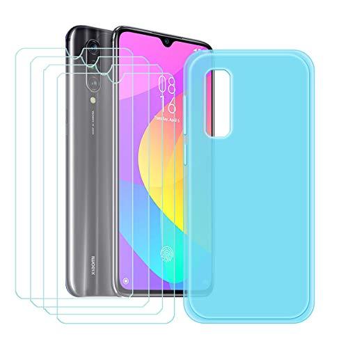 YZKJ Capa para Xiaomi Mi 9 Lite + 4 películas protetoras de tela de vidro temperado – capa de proteção de silicone TPU azul cristal flexível para Xiaomi Mi 9 Lite (6,4 polegadas)