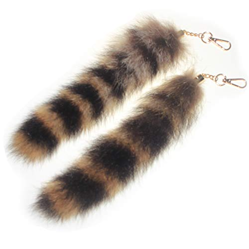 2 pcs 10inches Authentic Raccoon Tail Fur Skin Halloween Party Cosplay Toy Handbag Accessories Key Chain Ring Hook