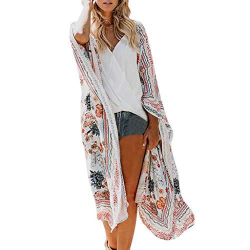 MRULIC Damen Florale Kimono Cardigan Boho Chiffon Sommerkleid Beach Cover up Leicht Tuch für die Sommermonate am Strand oder See (XL, Z1-Weiß)