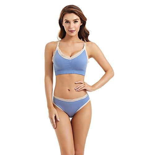 Desirelove Nursing Bras and Nuring Panties- 2 Pack, Breastfeeding Bra Full Coverage Seamless Bra with Removable Pads & Maternity Panties Set Underwear for Pregnant (Bra S + Panties S)