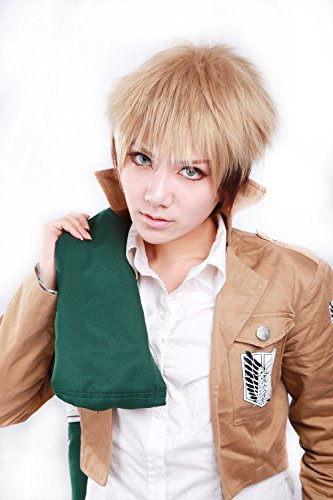 HOOLAZA Light Brown Gradient Color Short Straight Bangs Tail Anti Warping Cosplay Wig Attack On Titan Jean Kirstein Cosplay Wig