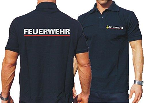 feuer1 Poloshirt Navy, BaWü Stauferlöwe nach VwV mit Rückendruck Feuerwehr (Silber/rot)