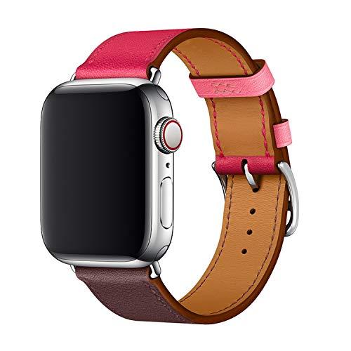 XCool Cinturino Apple Watch 42mm 44mm, Pelle Rosso Rosa per Donna Uomo per iwatch Serie 4 Serie 3 Serie 2 Serie 1