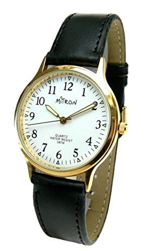 Mitron Damenuhr goldfarbend mit schwarzem Band / 62979