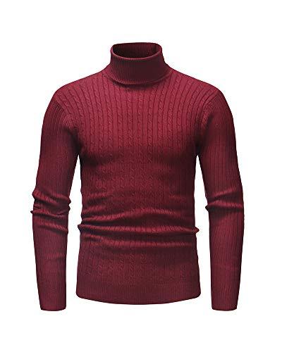 Pullover Herren Feinstrick Rollkragenpullover Strickpullover Slim Fit Warme Basic Langarm Sweatshirt Rollkragen Baumwolle Sweater Langarmshirt Pulli Rot-1 3XL
