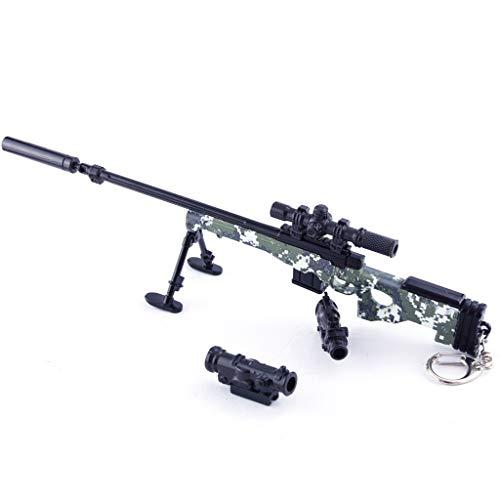 LTKJ Spiele Requisiten 1/4 Metall 98K AUG AWM M24 AKM Angriff Sniper Rifle Waffe Military Modell Action Figure Für Kinder Spielzeug Geschenk (AWM-A)
