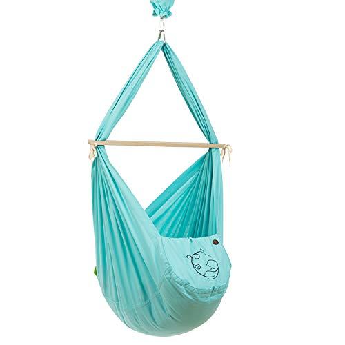 NONOMO Baby Federwiege Set 100% Bio Baumwolle mit Kunstfaser-Matratze und Deckenbefestigung in türkis ab 5 Monaten