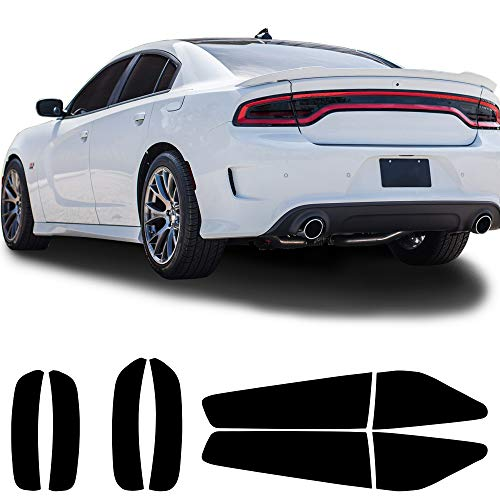 Bogar Tech Designs Tail Light Sidemarkers Tint Kit Compatible with and Fits Dodge Charger 2015-2021, Dark Smoke