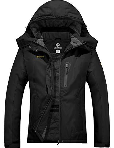 GEMYSE wasserdichte Berg-Skijacke für Frauen Winddichte Fleece Outdoor-Winterjacke mit Kapuze (Schwarz,XL)