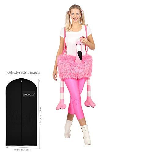 WOOOOZY Damen-Kostüm Flamingo, Einheitsgröße - inklusive praktischem Kleidersack