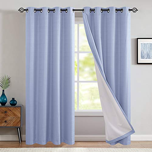 jinchan Lined Thermal Blackout Curtains for Bedroom Living Room Moderate Grommet Window Drapes 2 Panels 95 inch Length Blue