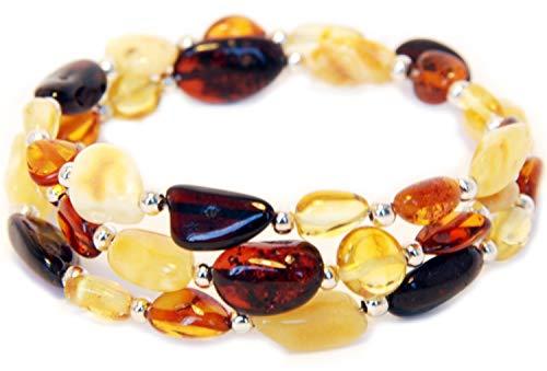 Bernsteinarmband Damen – 100% Baltischer Bernstein poliert - Bernsteinarmbänder - Bernstein Perlen echt - Armband Damen