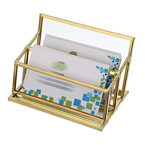 Sumnacon 2 ranuras de cristal de visita titular de tarjetas de nombre titular de exhibición de tarjetas titular de escritorio organizador
