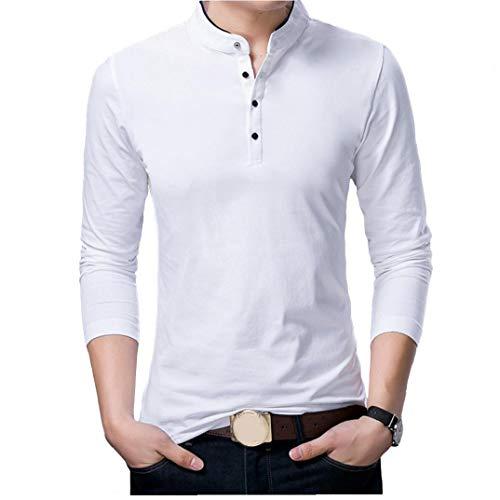 linjunddd Primavera Camiseta para Hombre De Manga Larga Básica De Soporte Sólido De La Blusa Camiseta Superior Ocasional del Algodón Camiseta De Los Hombres Al Aire Libre del Producto Undershirt