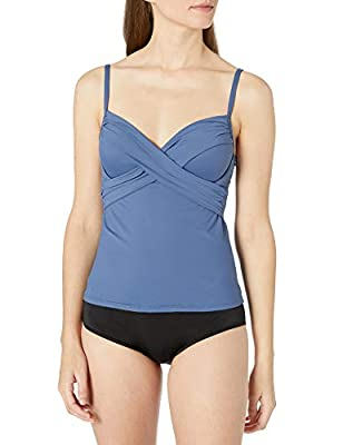 La Blanca Women's Standard Island Goddess Over The Shoulder Wrap Tankini Swimsuit Top, Blue Moon, 8