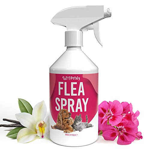 PETSLY Spray Antiparasitario Perros y Gatos - Anti Pulgas y Garrapatas Perros Spray Natural - Antipulgas Gatos sin Tóxicos - Spray Antipulgas Perros, Alternativa a Pastillas y Pipetas Perros, 500ml