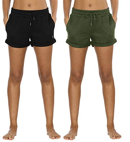 icyzone Damen Sweatshorts 2er Pack Kurze Sporthose Gym Fitness Shorts (L, Black/Green)