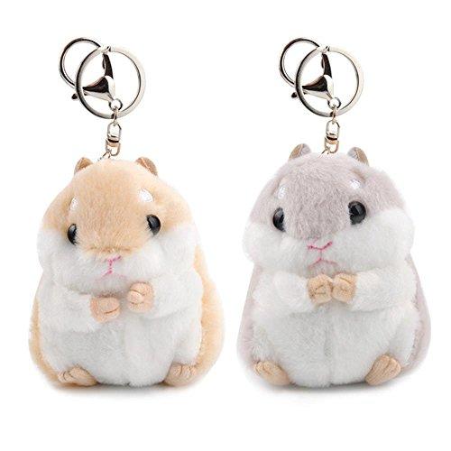 "AQUESOUSLY Women's Hamster Plush Key Chain,4.7""Cute Mini Stuffed Animal Handbag Pendant For Cellphone Decoration Girl Novelty Keychain (Light Brown+Grey) …"
