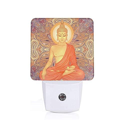 Hippie Sitting Buddha Vintage Plug-in Night Light Dusk to Dawn Smart Sensor,White Led Nightlight for Bedroom,Bathroom,Kitchen,Hallway,Stairs,Hallway,Energy Efficient,Decor Desk Lamp