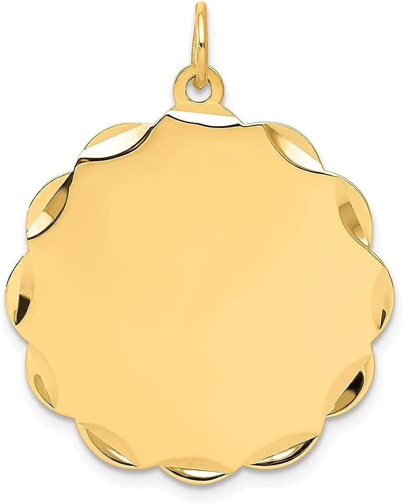 14k Yellow Gold .035 Gauge Engravable Scalloped Disc Pendant (L- 31 mm, W- 26 mm)