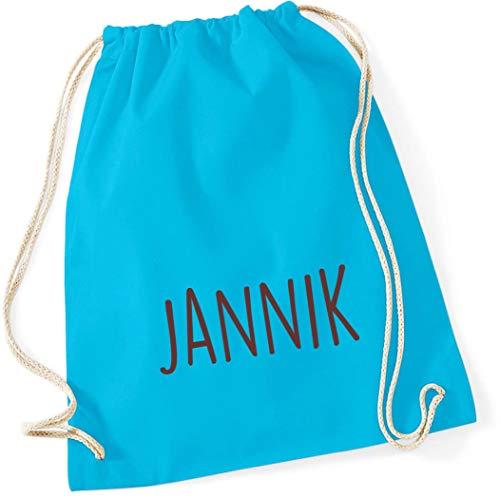 personalisierter Turnbeutel mit Namensdruck zum Zuziehen | Bedruckt mit Namen für Jungen & Mädchen | Zuziehbeutel Stoffbeutel in vielen Farben (surfblau)