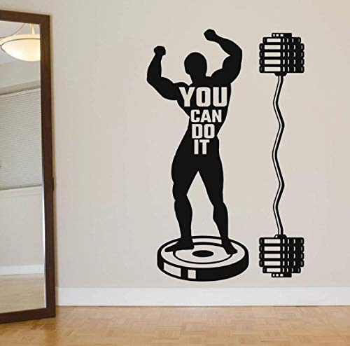 Atleta Musculoso Calcomanía de pared Cita Puedes hacerlo Vinilo Adhesivo de pared Motivación Crossfit para gimnasio Decoración de interiores Mural 57X36CM