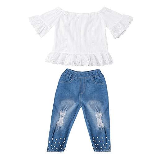 Xmiral Kid Mädchen Kurzarm Boot-Ausschnitt Tops + Jeans 2er Outfits Sets Rüschenhemd Denim Hosen Kleidung Sets(Weiß,12-18Monate)