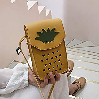 YKDY Shoulder Bag Pineapple Shape Hollow Cellphone Bag PU Single Shoulder Bag Ladies Messenger Bag (Black) (Color : Yellow)