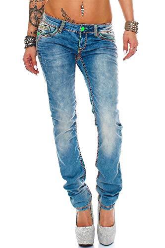 Cipo & Baxx Sexy Damen Jeans Hose Hüftjeans Skinny Regular Fit Stretch Röhre Design, 27W / 34L, Blau