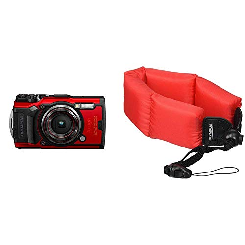Olympus Tough TG-6 Waterproof Camera, Red Bundle with Olympus Foam Float Strap, 202212, Red