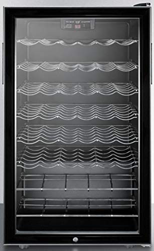 Summit Appliance SWC525LBI 20' Wide Built-In Wine Cellar with 40 Bottles Capacity, Glass Door, Lock, Digital Thermostat, Six Adjustable Scalloped Shelves, Interior Light and Black Cabinet