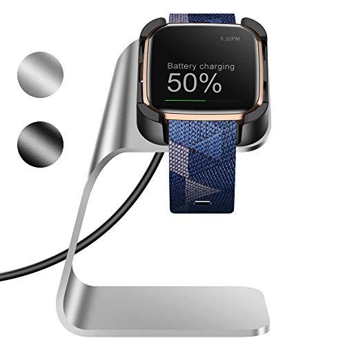 KIMILAR Ladestation Kompatibel mit Fitbit Versa 2 Ladegerät (Nicht für Versa/Versa Lite/SE), Aluminiumlegierung USB Ladekabel Dockingstationen Charger Dock für Versa 2 Nur (Silber)