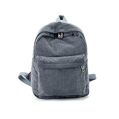 Schulrucksack, Kord, solide Unisex-Tasche, Vintage, Casual College-Rucksack, Reiserucksack für Jungen Mädchen, große Studenten-Rucksäcke für Wandern/Ausflüge/Camping, grau, Free Size
