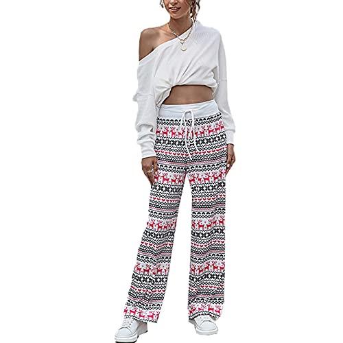 WJANYHN Pantalones Casuales con Cordones De Moda para Mujer Pantalones con Estampado NavideñO con Cordones Holgados A La Moda