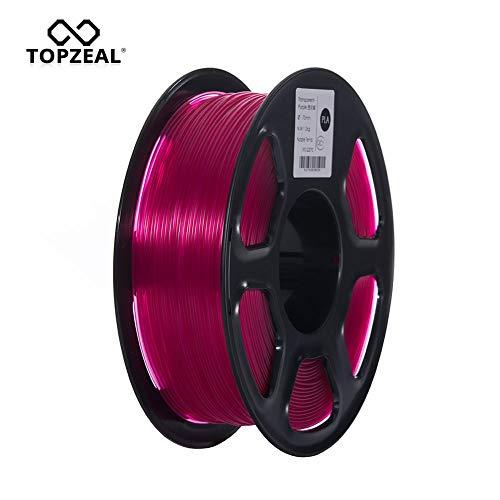 TOPZEAL Filamento stampante 3D, filamento PLA di colore trasparente serie 1,75 mm, precisione dimensionale +/- 0,02mm, bobina 1KG per stampante 3D e penna 3D (Transparent-Purple)