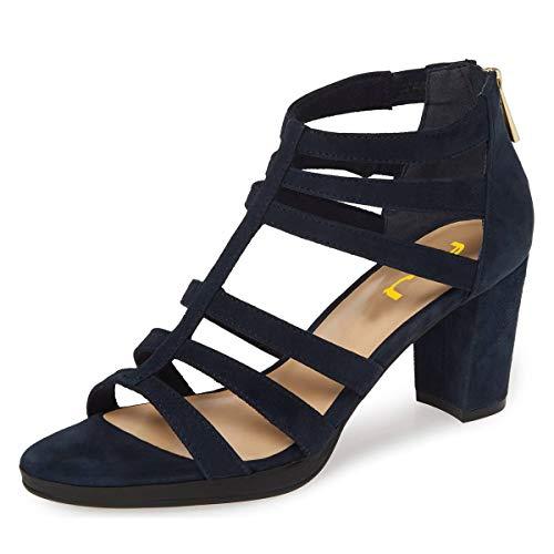 FSJ Women Chunky Mid High Heel Sandals Open Toe T-Strap Pumps Cutout Dress Party Office Shoes Elastic Back Zipper Size 11 Navy