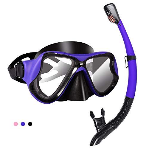 KUYOU 2020 Trocken Schnorchelset,Anti-Fog und Panorama-Weitblick Tauchmaske,Leichtes Atmen und Professionelle Schnorchelmaske mit Weichen Mundstück,Schnorchel Set für Erwachsene (Blau)