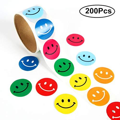 2.5 Cm Smiley//triste visage heureux Autocollants-Rouge//Jaune//Vert Pack de 1200