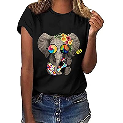 SEXYTOP Women's Flocked Up Funny Animal Printk Top Casual Plus Size Sleeveless/Short Sleeve Elephant Graphic T-Shirt Blouse