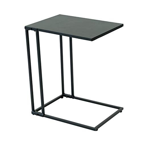 C-Hopetree Small Side Coffee End Table for Sofa, C Shape, Black Metal