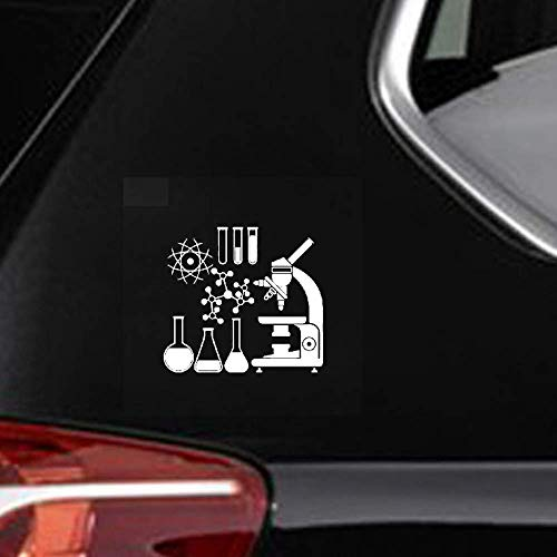 iopada Car Sticker Car Decal 18Cmx16.5Cm Microscope Scientist Chemistry Laboratory Decor Decal Car Sticker Cool for Car Laptop Window Sticker