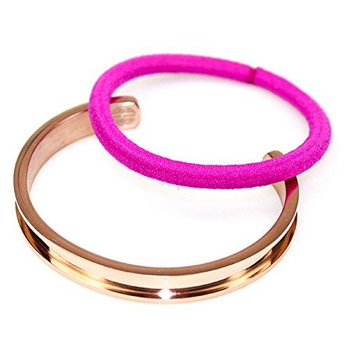 EinhornLiebe Damen Armband Silber Schmuck Armreif mit Haargummi Halterung Edelstahl Rosegold echt vergoldet ohne Gravur