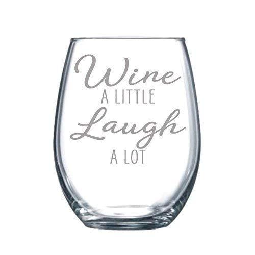 Wine a Little Laugh a Lot - Copa de vino grabada con láser, 11 oz