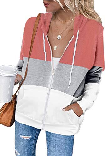 MAGIMODAC Kapuzenjacke Damen Sweatjacke Farbblock Kapuzenpullover Sweatshirt Jacke Hoodie Kapuzenpulli Pullover mit Kapuze Reißverschluss Taschen (Farbblock-Rosa, 2XL)
