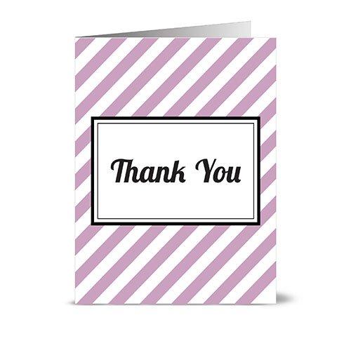 Modern Diagonal Stripe 'Thank You' Lavendar - 24 Cards - Blank Cards w/Grey Envelopes Included