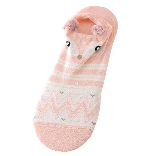 LABIUO Mode Persönlichkeit Cartoon Tier Atmungsaktiv Bedruckte Baumwollsocken Mit Ohren Lässig Atmungsaktiv Bootssocken(D,Freie Größe)