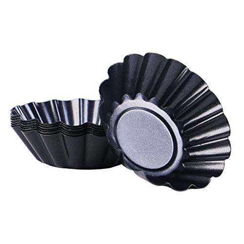 13 Pcs Mini Egg Tart Molds Non-Stick Pan,3 Inch Carbon Steel Baking Cup and Reusable Quiche Bakeware