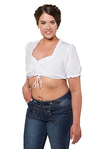 Ulla Popken Große Größen Damen Trachtenbluse Dirndl Bluse Kurz, Weiß (Weiss 20), 54